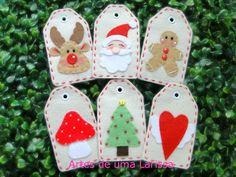 Papai Noel, Rena, Ginger, Cogumelo, Árvore e Coração Alado.. penduricos para árvore de Natal com formato de tag.