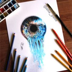 -watery eye- Surreal iris created with water color amd...  -watery eye- Surreal…