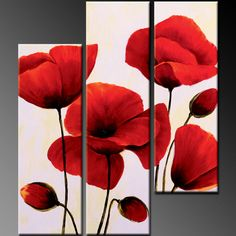 I like the split canvas , and this could be done in triangular configuration, with poppies, sunflowers etc.
