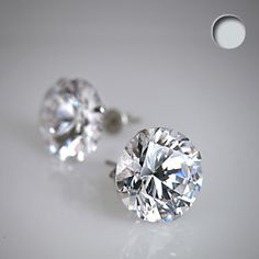 Clear 925 Sterling Silver .47 Carat Cubic Zirconia ROUND Stud Earrings | Body Candy Body Jewelry