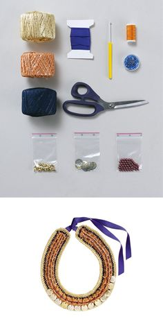 crochet a necklace tutorial - I don't really crochet, but I have done it in the past. Neat result