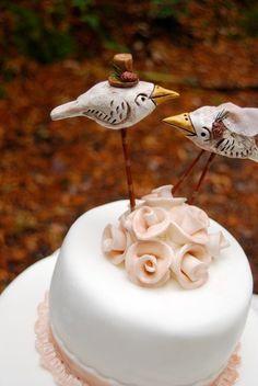 Wedding Cake Topper Woodland Birds in White by indigotwinweddings, $60.00