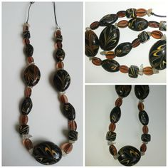 Black Brown Glass Oval Necklace by Naps on Etsy