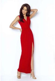 Czerwona Wieczorowa Sukienka z Głębokim Dekoltem V Beautiful Dresses, Beautiful Women, Mademoiselle, Glamour, Dresses For Work, Formal Dresses, Dressing, Casual, Women Wear