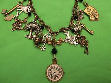 Necklace Clock Brass/Silver Charms Black Crystals ALICE IN WONDERLAND/