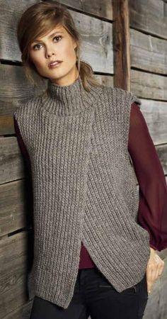 Lana Grossa Knitting Pattern - Model Package VEST Alta Moda Alpaca (Design FILATI No. 52 (fall/winter - Knitting instructions (EN)) - - order now online Stylish Waistcoats, Modest Fashion, Fashion Outfits, Knit Vest Pattern, Pulls, Street Style Women, Trendy Outfits, Pullover Sweaters, Knitwear