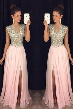 Prom Dresses Simple, A Line Round Neck Pink Chiffon Split Long Prom Dresses with Beading, A long dress makes an elegant statement at any formal event whether it is prom, a formal dance, or wedding. Grad Dresses, Homecoming Dresses, Bridesmaid Dresses, Wedding Dresses, Prom Dress, Pink Dresses, Sports Dresses, Prom Gowns, Casual Mode
