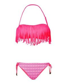 Gemelli Shimmy Fringe Bandeau Bikini with Dolly Mix Reversible Loop Bottoms Pink