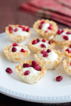Quick and Easy Bite Size Pomegranate Cream Cheese Cups - Get this easy dessert recipe from www.cookthestory.com