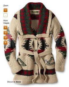 Eddie Bauer Wool Hand Knit Womens Diamond Blanket Belted Cardigan Sweater XS New   eBay
