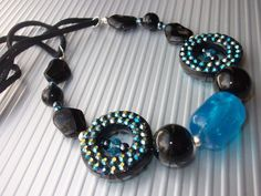 Hey, I found this really awesome Etsy listing at https://www.etsy.com/listing/178863708/black-blue-bead-necklace-chunky-bead