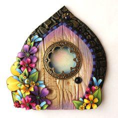 Bright Garden Fairy Door Miniature Pixie Portal  Home by Claybykim