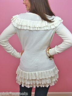 BETSEY JOHNSON Ruffle Long Bustle Cardigan Sweater Jacket Top Cream White