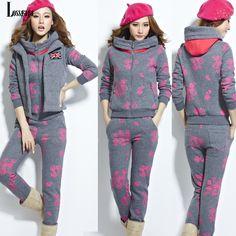 2014 Floral Print Tracksuit for Female Winter Women's Sweatshirt Hoodie Sport Suit 3pcs Casual Jacket+Fleece Vest+ Slim Trousers