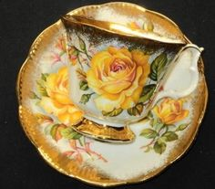 Royal Albert Much GOLD Treasure Rose Tea cup and saucer Teacup, You can appreciate breakfast or various time intervals applying tea cups. Tea cups also have ornamental features. Once you go through the tea pot models, you will dsicover this clearly. China Cups And Saucers, China Tea Cups, Teapots And Cups, Cup And Saucer Set, Tea Cup Saucer, Vintage Cups, Vintage China, Vintage Yellow, Rose Tea