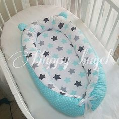 """Items similar to HappyBagel babynest with """"bear ears"""" on Etsy Mini Cama, Baby Sheets, Bear Ears, Diy Baby Gifts, Dust Mites, Baby Essentials, Baby Sewing, Baby Gear, Future Baby"""