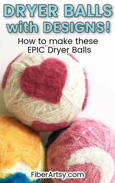 DIY Dryer Balls with Needle Felted Designs! Why not dress up your dryer balls with fun, needle felted designs like hearts and stars? Learn how to make felt designs on Homemade Wool Dryer Balls. Great for Beginners! #needlefelting #woolfelting #wooldryerballs