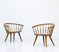 Pair of Arka lounge chairs by Yngve Ekström for Stolfabriks AB, Rustic Dining Chairs, Rustic Chair, Mid Century Dining Chairs, Rustic Furniture, Wooden Chairs, Cheap Comfy Chairs, Cool Chairs, Lounge Chairs, Easy Chairs