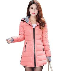 2018 women winter hooded warm coat plus size candy color cotton padded jacket female long parka womens wadded jaqueta feminina-rodewe Winter Jackets Women, Coats For Women, Clothes For Women, Stylish Winter Coats, Long Parka, Winter Parka, Womens Parka, Cotton Jacket, Denim Blazer