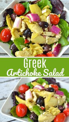 My Greek Artichoke Salad is highlighted by a simple olive oil vinaigrette,LOADED with artichokes and most of the other yummies from the traditional salad.