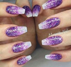 Sparkle nails, purple nail art, glittery nails, acrylic nails glitter o Nail Art Violet, Purple Nail Art, Purple Nail Designs, Nail Art Designs, Purple Ombre Nails, Nails Design, Purple Nails With Glitter, Best Nail Designs, Glitter Nail Designs