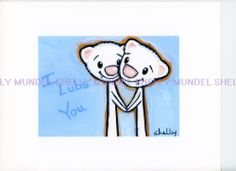 Art by Shelly Mundel. Ferret People Collection  ( Lubbers or Vampires ) 5x7 inch