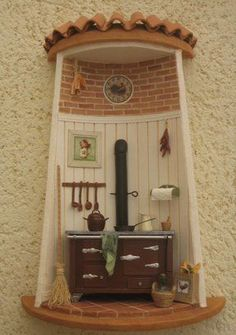 Tejas decoradas Vitrine Miniature, Miniature Rooms, Miniature Houses, Miniature Furniture, Clay Houses, Ceramic Houses, Azulejos Diy, Diy Crafts Slime, Clay Crafts