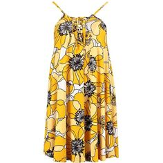 Boohoo Rena 70's Oversized Floral Swing Dress (335 ZAR) ❤ liked on Polyvore