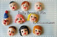 Cute Kitsch Kawaii Doll Brooch Badge Pin,Dolly Brooch,Handmade Cute Novelty Gift