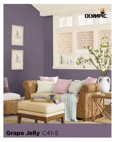The Olympic August Paint Color of the Month is Grape Jelly, Purple. Purple is gorgeous and sophisticated when paired with more neutral organic colors, such as creams and beiges like in this example of living room with a purple color scheme. Purple Paint Colors, Wood Stain Colors, Living Room 2017, Different House Styles, Beige Room, Purple Home Decor, Grape Jelly, York Apartment, Cool Rooms
