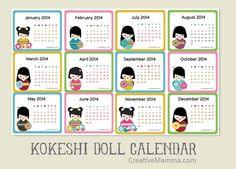 Free printable 2014 kokeshi doll calendar