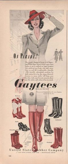 Wonderful tall 1941 rain/cold weather boots. #vintage #1940s #shoes #fashion
