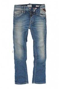 Slimfit jeans in fresh blue stretch denim with broken effects, fading in areas of wear&tear.