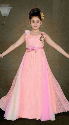 Magnificent Light Pink Kids Girl Floor Length Gown  DT11748  Fashionable light pink premium fabric wedding kids gown for your child which is made by heavy work. This dress has sizes available from 24 to 34.