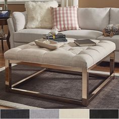 Solene Square Base Ottoman Coffee Table - Champagne Gold by INSPIRE Q | Overstock.com Shopping - The Best Deals on Ottomans