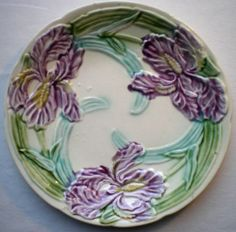 RARE Old French Majolica Plate Onnaing Violet Iris | eBay