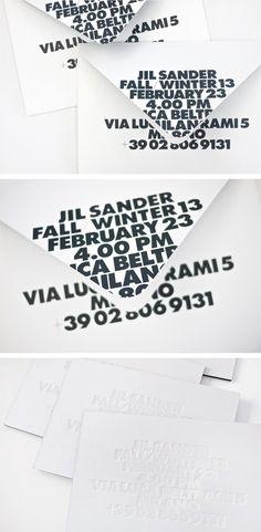 jil sander women's invitations, design by petronio associates Fashion Invitation, Invitation Design, Invitation Cards, Invites, Fashion Typography, Typography Logo, Fashion Branding, Layout Design, Logo Design