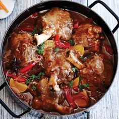 """SLOW-COOKED LAMB SHANKS WITH ASIAN FLAVOURS RECIPE: ~ From: """"My Food Book.Com"""" ~ Recipe Provided By: """"KIKKOMAN"""" ~ Main Ingredient: Lamb; Level: Easy; Prep.Time: 20 min; Cook.Time: 1-1/2 hrs (oven) or 4 to 6 hrs (Slow Cooker). Yield: (4 servings); Occasions: Main."""