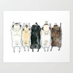 The Pug Spectrum - Pug butts in a row Art Print by Inkpug. Worldwide shipping available at Society6.com. Just one of millions of high quality products available.