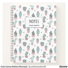 Shop Cute Cactus Pattern Personalized Spiral Notebook created by awhimsicalworld. Cute Notebooks For School, Cute Spiral Notebooks, Diy Notebook Cover For School, Notebook Cover Design, Spiral Notebook Covers, Stationary School, Cute Stationary, Stationary Supplies, School Suplies