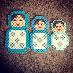 Matryoshka Doll Perler Bead Magnet Set by PrebreakofdawnCrafts