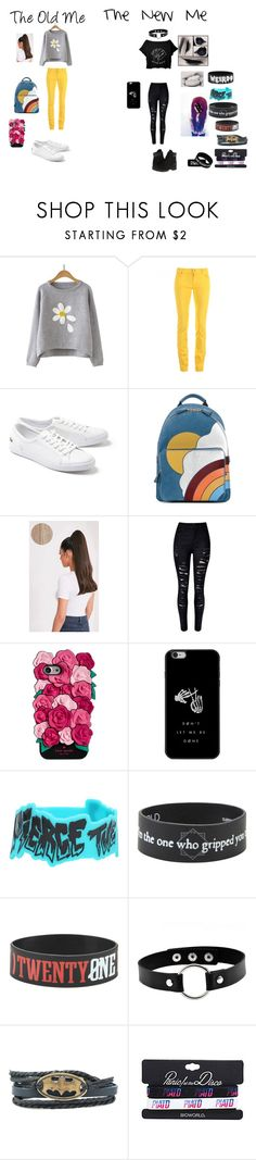 """Old vs. New"" by isabelle074 ❤ liked on Polyvore featuring Love Moschino, Lacoste, Anya Hindmarch, Timberland, Kate Spade and Hot Topic"