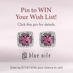"Win up to $3000.00 USD in jewelry from Blue Nile.    Click this pin to enter the ""Be Mine"" Pin to Win presented by Blue Nile. Win up to $3000.00 USD in jewelry from Blue Nile. #PinToWin #BeMine #ValentinesDay #BlueNile #Sweepstakes #Giveaway Blue Nile Jewelry, Pink Jewelry, Jewlery, Ring Watch, Cool Style, My Style, All That Glitters, Shopping Spree, Sparklers"