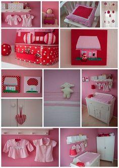Babykamer stippen  ruiten, roze  rood