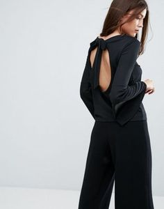 Boohoo Flute Sleeve Top With Open Back