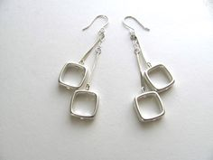 Silver geometric square dangle drop earrings by MySoCalledVintage, $34.00