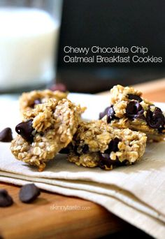 "Oats, ripe bananas and chocolate chip- these healthy, ""breakfast"" cookies are chewy and delicious, and made with just three ingredients."