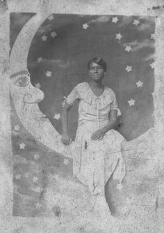 https://flic.kr/p/4ypcaj | Woman on the Moon - Grayscale | From Inniss Family vintage photo collection.