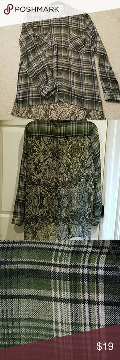 Sheer green plaid and paisley blouse Gorgeous, only worn once. Looks great with leggings, jeans, or slacks! Band of Gypsies Tops Blouses
