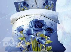 New Arrival Romantic Blue Roses Print 4 Piece Bedding Sets bed & bath inn